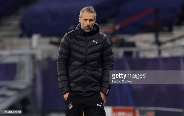 Marco Rose, Head Coach of Borussia Moenchengladbach looks on during the UEFA Champions League Round of 16 match between Borussia Moenchengladbach and...