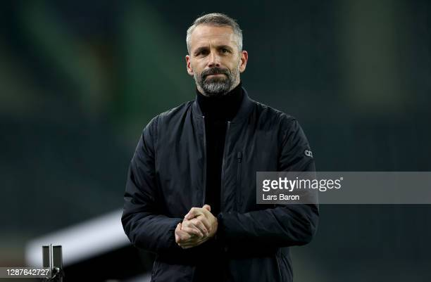 Marco Rose, Head Coach of Borussia Moenchengladbach looks on prior to the UEFA Champions League Group B stage match between Borussia Moenchengladbach...