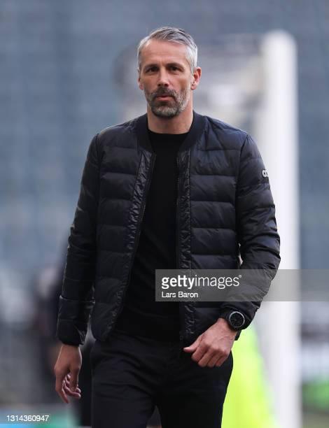 Marco Rose, Head Coach of Borussia Moenchengladbach looks on prior to the Bundesliga match between Borussia Moenchengladbach and DSC Arminia...