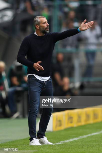 Marco Rose head coach of Borussia Moenchengladbach reacts during the Bundesliga match between Borussia Moenchengladbach and FC Schalke 04 at...