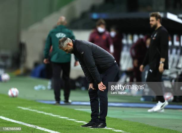 Marco Rose, Head Coach of Borussia Moenchengladbach reacts during the UEFA Champions League Group B stage match between Borussia Moenchengladbach and...