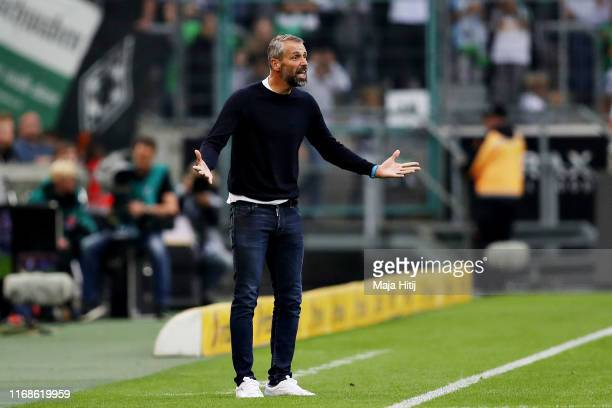 Marco Rose Head Coach of Borussia Monchengladbach gestures from the sidelines during the Bundesliga match between Borussia Moenchengladbach and FC...