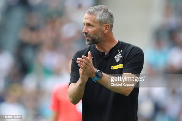 Marco Rose Head Coach of Borussia Monchengladbach gives his team instructions during the preseason friendly match between Borussia Moenchengladbach...