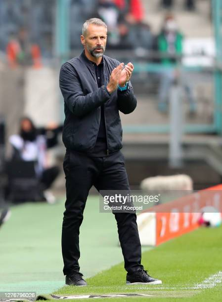 Marco Rose, Head Coach of Borussia Monchengladbach gives his team instructions during the Bundesliga match between Borussia Moenchengladbach and 1....