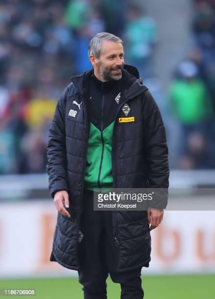 Marco Rose Head Coach of Borussia Monchengladbach looks on during the Bundesliga match between Borussia Moenchengladbach and SV Werder Bremen at...