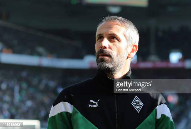Marco Rose, Head Coach of Borussia Monchengladbach looks on prior to the Bundesliga match between Borussia Moenchengladbach and SV Werder Bremen at...