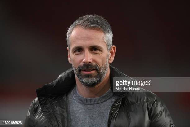 Marco Rose, Head Coach of Borussia Monchengladbach looks on prior to the DFB Cup Round of Sixteen match between VfB Stuttgart and Borussia...