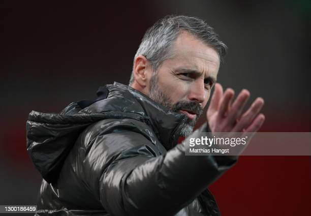 Marco Rose, Head Coach of Borussia Monchengladbach reacts ahead of the DFB Cup Round of Sixteen match between VfB Stuttgart and Borussia...