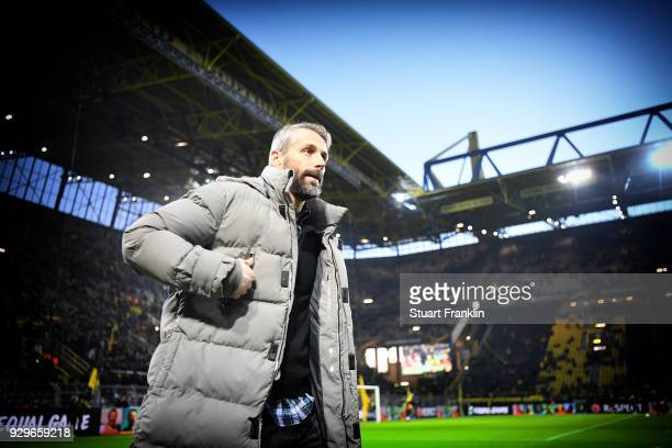 Marco Rose head coach of Salzburg looks on during UEFA Europa League Round of 16 match between Borussia Dortmund and FC Red Bull Salzburg at the...