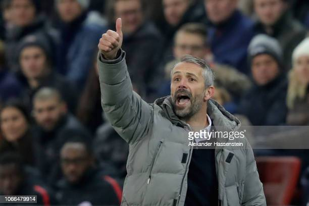 Marco Rose head coach of Sazburg reacts during the UEFA Europa League Group B match between RB Salzburg and RB Leipzig at on November 29 2018 in...