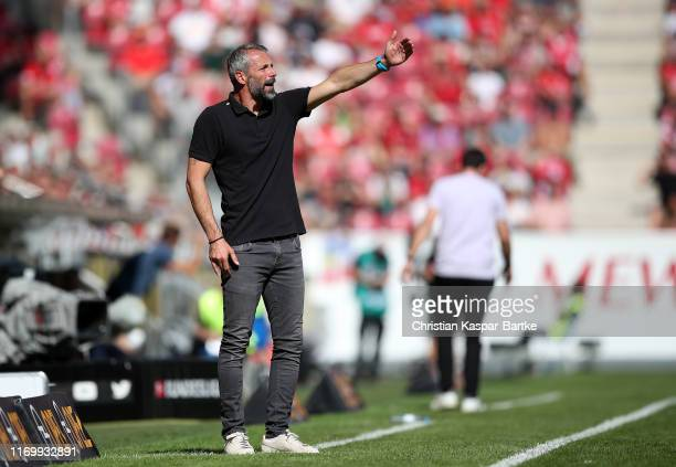 Marco Rose Manager of Borussia Monchengladbach reacts during the Bundesliga match between 1 FSV Mainz 05 and Borussia Moenchengladbach at Opel Arena...