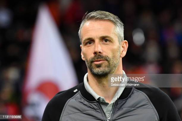Marco Rose Manager of RB Salzburg looks on prior to the UEFA Europa League Round of 32 Second Leg match between RB Salzburg and Club Brugge at Red...