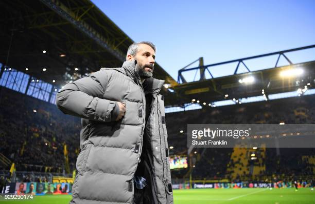 Marco Rose manager of Red Bull Salzburg looks on prior to the UEFA Europa League Round of 16 match between Borussia Dortmund and FC Red Bull Salzburg...