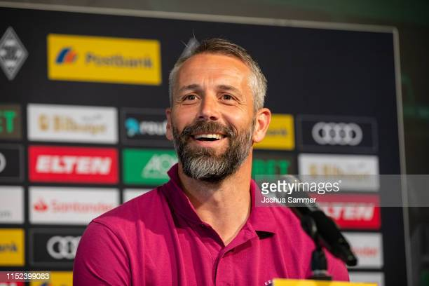 Marco Rose talks to journalists during his presentation as new head coach of Borussia Moenchengladbach at Postbank-Presseclub on May 29, 2019 in...