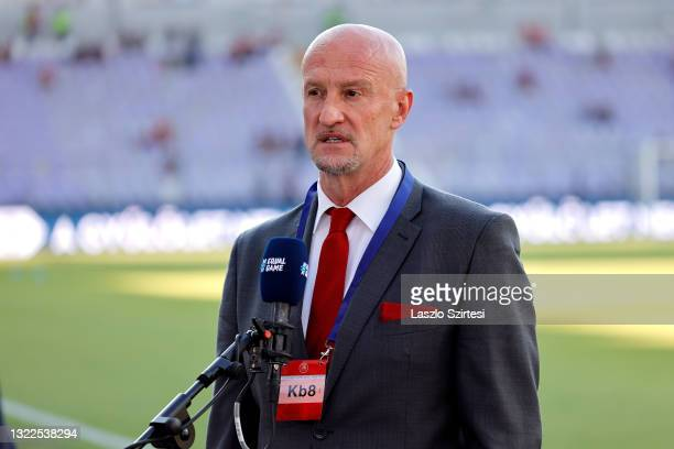 Marco Rossi, Manager of Hungary talks to the media prior to the international friendly match between Hungary and Republic of Ireland at Szusza Ferenc...