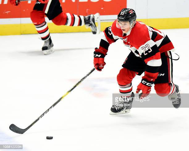 Marco Rossi of the Ottawa 67s carries the puck up ice against Mississauga Steelheads during OHL game action on October 21 2018 at Paramount Fine...