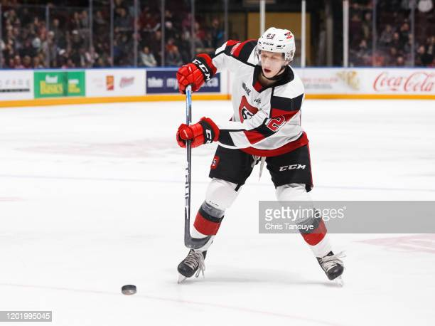 Marco Rossi of the Ottawa 67's plays the puck during an OHL game against the Oshawa Generals at the Tribute Communities Centre on January 19, 2020 in...