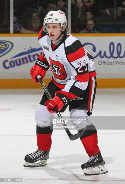 Marco Rossi of the Ottawa 67's skates against the Peterborough Petes in an OHL game at the Peterborough Memorial Centre on February 7 2019 in...