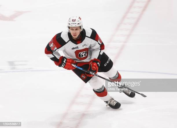 Marco Rossi of the Ottawa 67's skates during an OHL game against the Oshawa Generals at the Tribute Communities Centre on March 1, 2020 in Oshawa,...