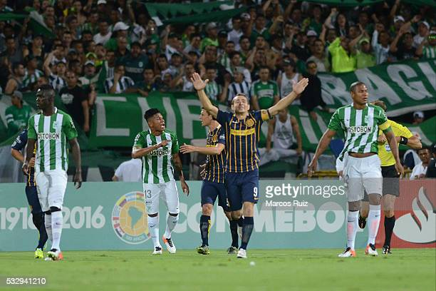 Marco Ruben of Rosario Central celebrates after scoring the first goal of his team during a second leg match between Atletico Nacional and Rosario...