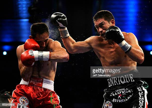 Marco Rubio of Torreon Mexico gets punched by Enrique Ornelas of La Habra California during their WBC middleweight title eliminator bout at Boardwalk...