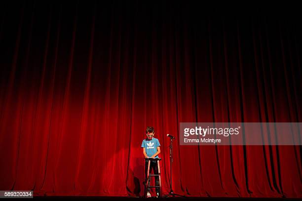 Marco Ruedas performs onstage at the Sundance Next Fest premiere of 'Morris From America' and youth talent show at The Theatre At The Ace Hotel on...