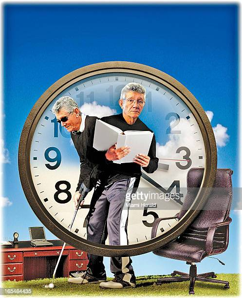 Marco Ruiz color illustration of aging babyboomer standing inside a clock and split between work and playing golf