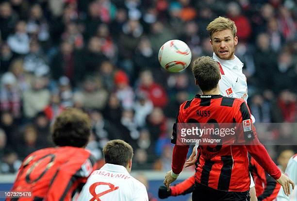 Marco Russ of Frankfurt battles for the ball with Jan Kirchhoff of Mainz during the Bundesliga match between Eintracht Frankfurt and FSV Mainz 05 at...