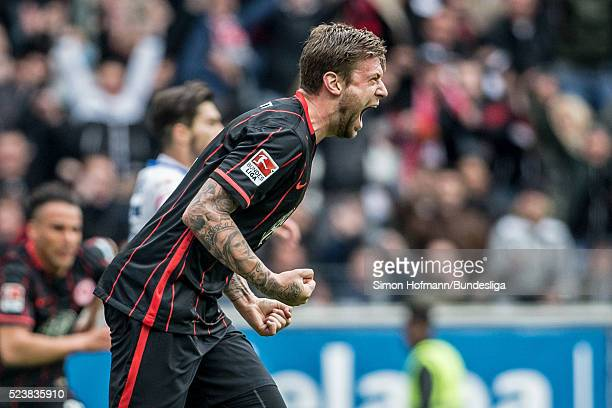 Marco Russ of Frankfurt celebrates his team's first goal during the Bundesliga match between Eintracht Frankfurt and 1 FSV Mainz 05 at...