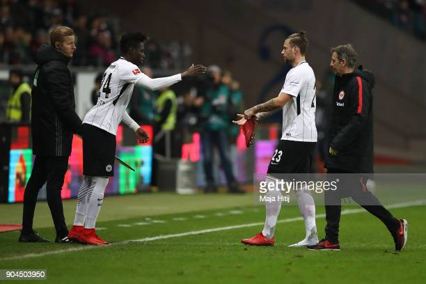 Marco Russ of Frankfurt leaves the pitch as he is being substituted by Danny da Costa of Frankfurt during the Bundesliga match between Eintracht...