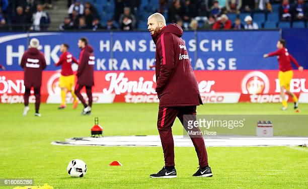 Marco Russ of Frankfurt looks on before during the Bundesliga match between Hamburger SV and Eintracht Frankfurt at Volksparkstadion on October 21...