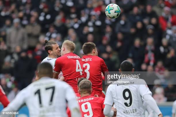 Marco Russ of Frankfurt scores a header goal to make it 21 during the Bundesliga match between Eintracht Frankfurt and 1 FC Koeln at CommerzbankArena...