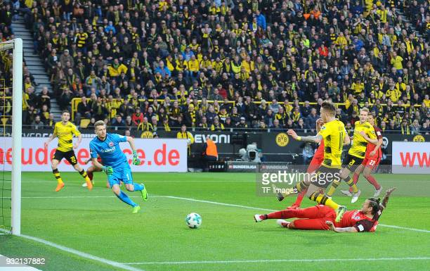 Marco Russ of Frankfurt scores an own goal during the Bundesliga match between Borussia Dortmund and Eintracht Frankfurt at Signal Iduna Park on...