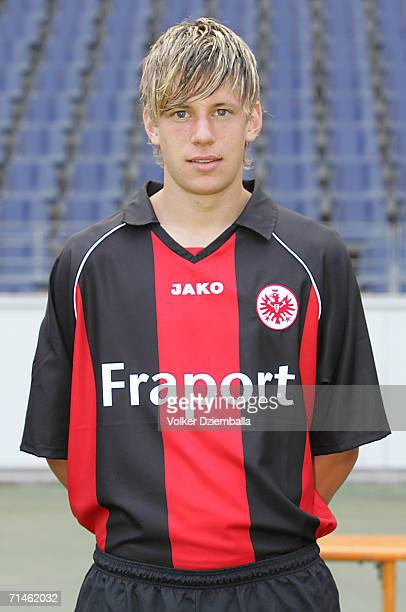 Marco Russ poses during the Bundesliga 1st Team Presentation of Eintracht Frankfurt at the Commerzbank Arena on July 14 2006 in Frankfurt Germany