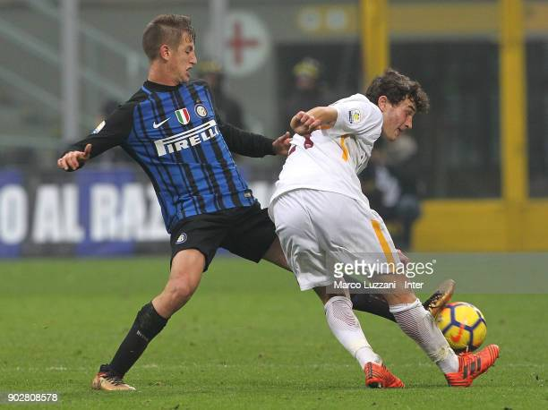 Marco Sala of FC Internazionale competes for the ball with Dario Vittorio Meadows of AS Roma during the Primavera SuperCup match between FC...