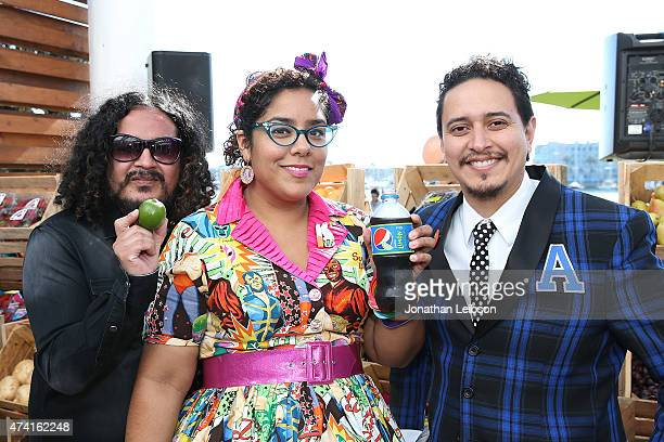 Marco Sandoval Marisoul Hernandez and Alex Bendana of the group La Santa Cecilia attend the Pepsi Celebrates The Launch Of Pepsi Limon event on May...