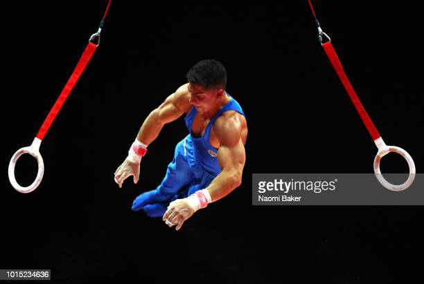 Marco Sarrugerio of Italy competes in Rings in the Men's Team Gymnastics Final during the Gymnastics on Day Ten of the European Championships Glasgow...