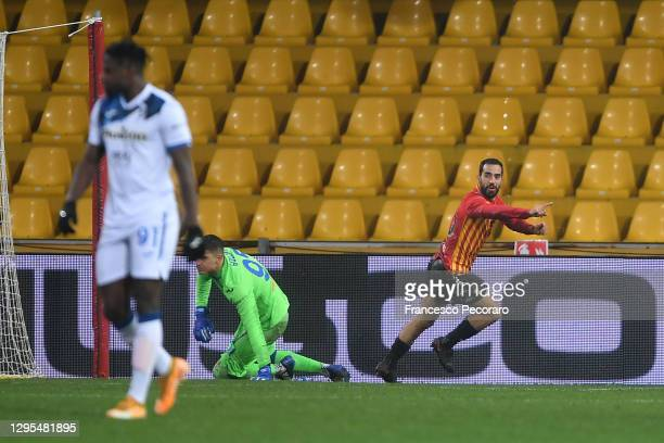Marco Sau of Benevento celebrates after scoring their sides first goal during the Serie A match between Benevento Calcio and Atalanta BC at Stadio...