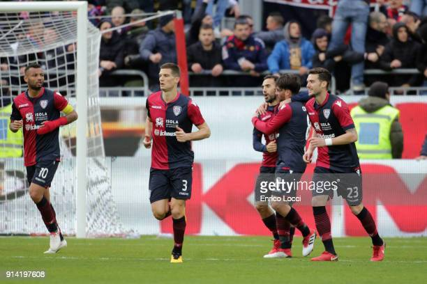 Marco Sau of Cagliari celebrates his goal 20 during the serie A match between Cagliari Calcio and Spal at Stadio Sant'Elia on February 4 2018 in...