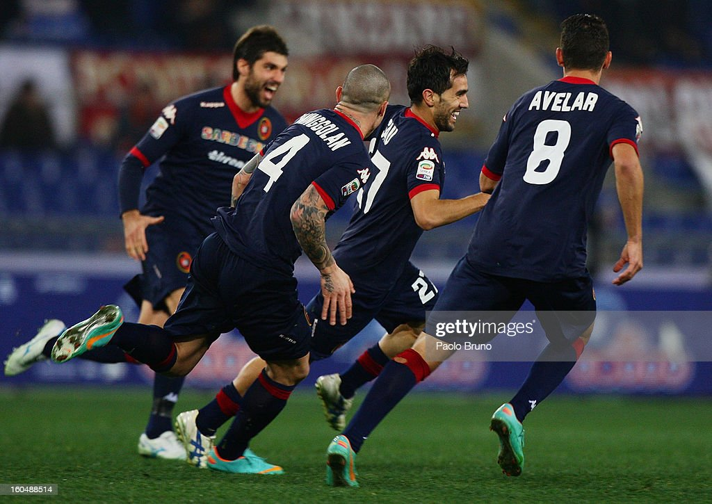 Marco Sau (C) with his teammates of AS Roma celebrates after scoring the third team's goal during the Serie A match between AS Roma and Cagliari Calcio at Stadio Olimpico on February 1, 2013 in Rome, Italy.