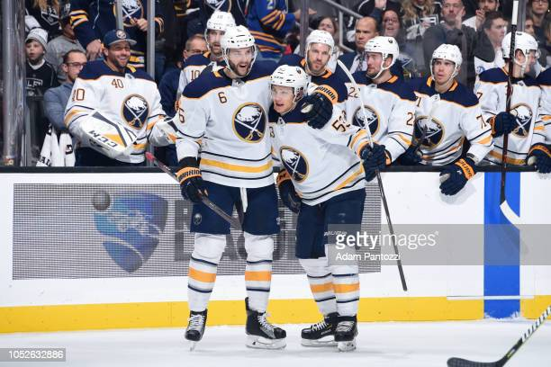 Marco Scandella and Jeff Skinner of the Buffalo Sabres celebrates Skinner's secondperiod goal during the game against the Los Angeles Kings at...