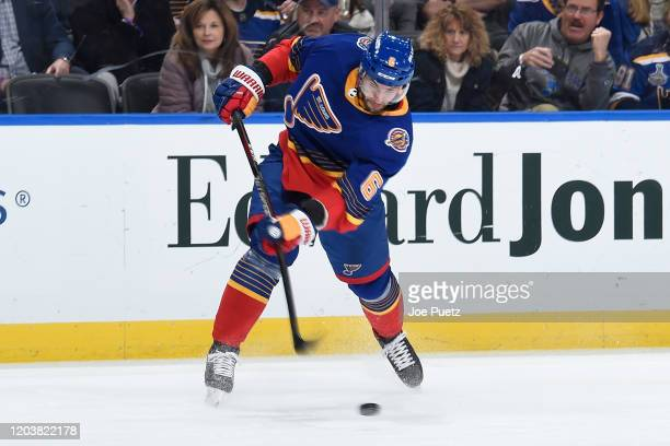 Marco Scandella of the St Louis Blues takes a shot against the New York Islanders at Enterprise Center on February 27 2020 in St Louis Missouri