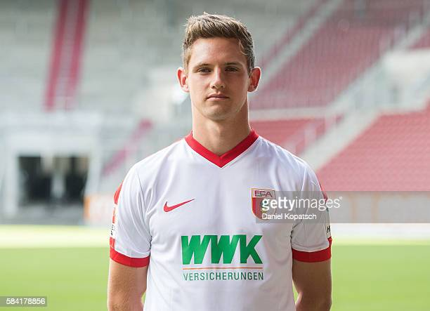 Marco Schuster poses during the Team Presentation of FC Augsburg on July 28 2016 in Augsburg Germany