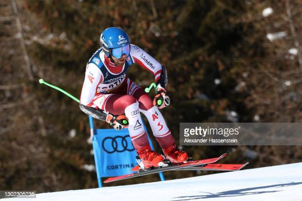 Marco Schwarz of Austria competes at his first run and the Super-G leg of the FIS World Ski Championships Men's Alpine Combined on February 15, 2021...