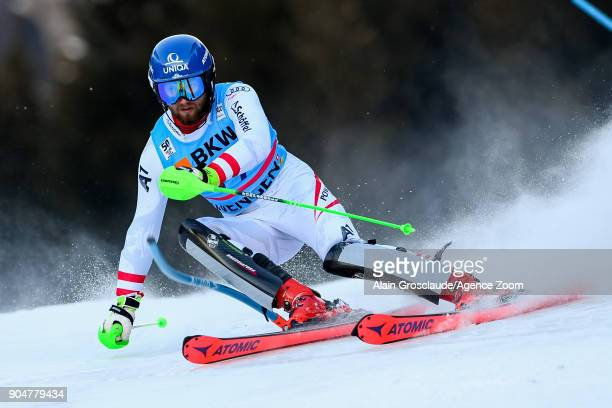 Marco Schwarz of Austria competes during the Audi FIS Alpine Ski World Cup Men's Slalom on January 14 2018 in Wengen Switzerland