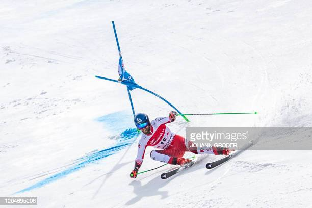 Marco Schwarz of Austria competes during the second run of the men's giant slalom of the FIS Ski World Cup in Hinterstoder Austria on March 2 2020 /...