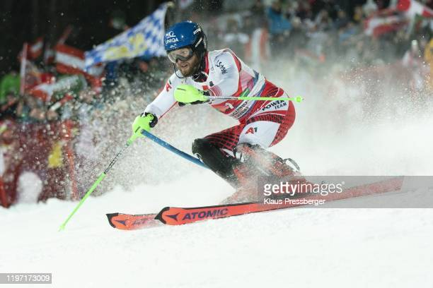Marco Schwarz of Austria competes in the second run during the Audi FIS Alpine Ski World Cup - Men's Slalom on January 28, 2020 in Schladming,...