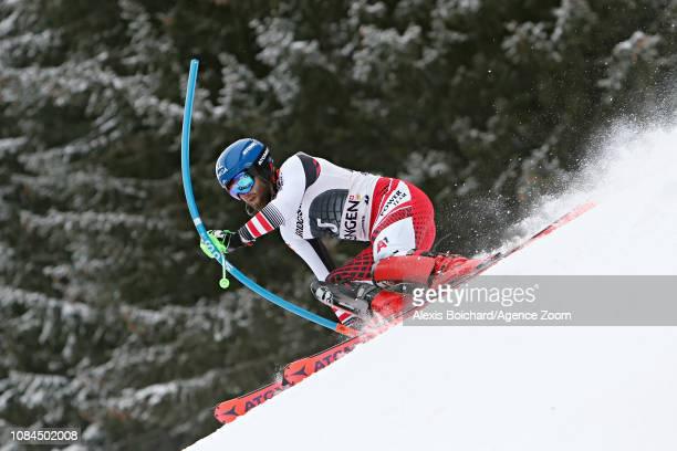 Marco Schwarz of Austria in action during the Audi FIS Alpine Ski World Cup Men's Alpine Combined on January 18 2019 in Wengen Switzerland