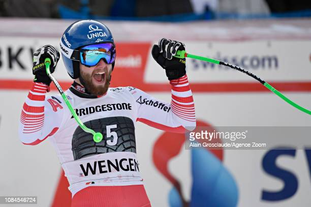 Marco Schwarz of Austria takes 1st place during the Audi FIS Alpine Ski World Cup Men's Alpine Combined on January 18 2019 in Wengen Switzerland