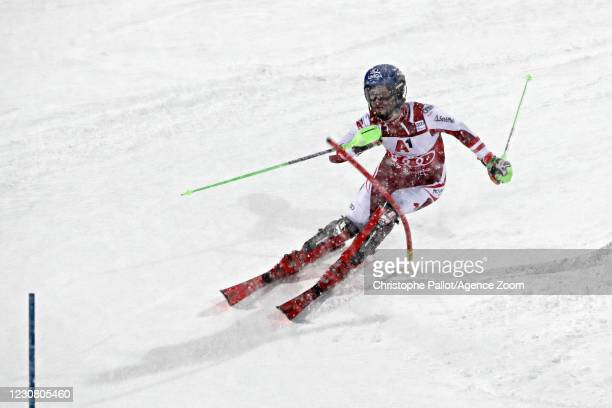 Marco Schwarz of Austria takes 1st place during the Audi FIS Alpine Ski World Cup Men's Slalom on January 26, 2021 in Schladming Austria.